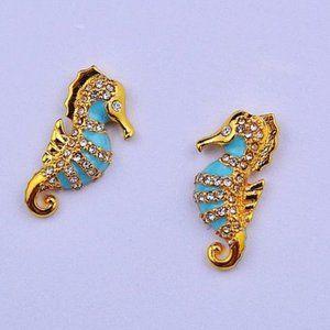 Zircon Enamel Glaze Seahorse Earrings